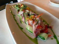 Yellowtail Cebiche, Cucumber Ribbons, and Rocoto (Peruvian Gastronomy)    This is Nikkei Cuisine in Peru. A cultural blending of Peruvian and Japanese that has existed in Peru for the last 130+years.