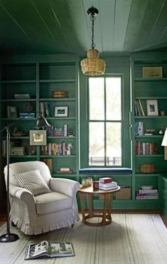 The Study - Pure Country Christmas Farmhouse - Southern Living [green paint = Farrow & Ball's Green Smoke] Smoke Painting, Farrow And Ball Paint, Farrow Ball, Home Still, Farmhouse Paint Colors, Interior Decorating, Interior Design, Decorating Ideas, Decor Ideas