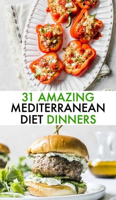 Enjoy these DELICIOUS Mediterranean Diet Dinner recipes every night of the week! They're made with whole foods and will leave you feeling satisfied. Diet Dinner Recipes, Whole Food Recipes, Healthy Recipes, Healthy Dinners, Healthy Foods, Easy Mediterranean Diet Recipes, Mediterranean Dishes, Med Diet, Mederteranian Diet