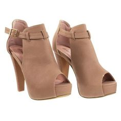 Table45 Tan By Top Moda, Stacked Block Heel Ankle Boots w Peep Toe,... ($32) ❤ liked on Polyvore featuring shoes, heels, tan peep toe booties, block heel booties, military boots, summer booties and side cut out booties