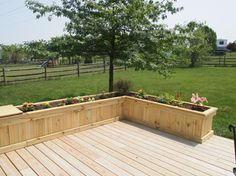 Planter boxes on raised deck instead of railing
