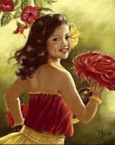 children in art history Hawaiian Hula Dance, Hawaiian Dancers, Hawaiian Art, Hawaiian Decor, Poster Pictures, Pictures To Draw, Hawaiian Goddess, Girl Face Drawing, Polynesian Art