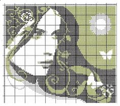 cross stitch portrait of a girl with butterflies Cross Stitch Boards, Cross Stitch Love, Cross Stitch Needles, Beaded Cross Stitch, Counted Cross Stitch Patterns, Quilt Stitching, Cross Stitching, Diy Embroidery, Cross Stitch Embroidery
