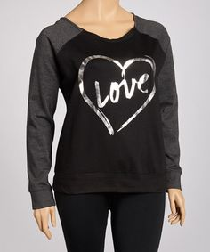 Take a look at this Black & Charcoal Fleece Sweatshirt - Plus by Feathers on #zulily today!