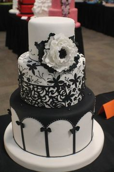 The Peony in Black and White  Cake by TortasMonicaPeru