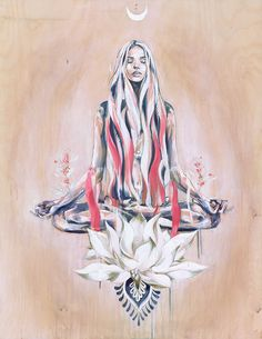 Peace & Hazy Days a Meditation yoga print in lotus pose by Hannah Adamaszek for sale online gallery shop. William Blake, Yoga Symbole, Yoga Kunst, Watercolor Flower, Lotus Flower Art, Psy Art, Yoga Art, Yoga Meditation, Meditation Tattoo