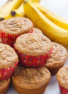 Healthy Banana Muffins - Healthy banana muffins recipe with applesauce, whole wheat flour and no sugar. Moist, easy, freezer friendly and an absolute hit with everyone!