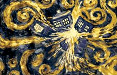 Doctor Who posters:Doctor Who poster featuring a painting by Vincent Van Gogh of an exploding Tardis. Van Gogh painted a psychic message of the Tardis exploding in the 2010 series. Official Doctor Who poster. Doctor Who Tardis, Art Doctor Who, The Tardis, Tardis Art, Tardis Door, Tardis Blue, Eleventh Doctor, Poster Doctor Who, Dr Who