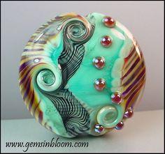 SALE Silver Glass Lampwork Lentil Focal Bead - 1 Bead