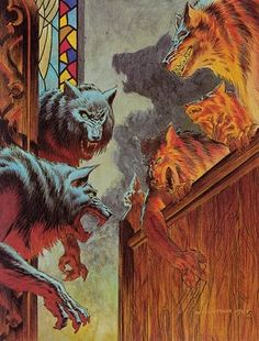 """Illustration for Stephen King's """"Cycle Of The Werewolf"""" by Bernie Wrightson"""
