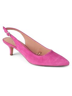 3aafd087db8 Gap Womens Slingback Kitten Heels In Suede Shocking Pink Black Flats Shoes