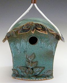 Artisan pottery birdhouse- Cute for me and the birds!