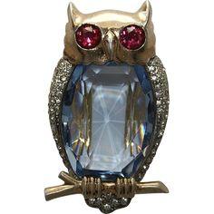 Sterling Mazer Glass Belly Rhinestone Owl Clip Pin 1940s from luminousbijoux on Ruby Lane