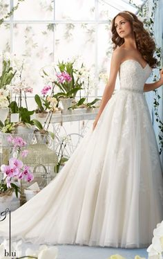 2b194d60 Alencon Lace Tulle Ballgown by Blu by Mori Lee. Wedding Dress With SashOrganza  ...