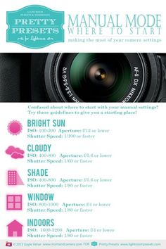 Manual Photography Infograph #photography   #howto #diy