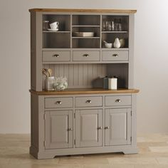 St Ives painted acacia large dresser with natural oak top. Soft, light grey…