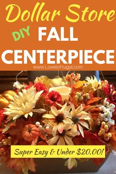 DIY Dollar Tree Fall Centerpiece Make a big impact on your Fall decor without breaking the bank! This gorgeous Fall centerpiece can be achieved with just a few dollars and some simple supplies and can be used all the way through Thanksgiving! Thanksgiving Centerpieces, Diy Thanksgiving, Diy Centerpieces, Kindergarten Thanksgiving Crafts, Dollar Tree Fall, Decorating On A Budget, Fall Decorating, Living On A Budget, Frugal Living