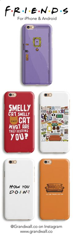 Visit grandwall.co/... to get these exclusive Friends tv phone cases. Use Code PINTEREST for 10% off. Available in all models for the iPhone as well as options for Samsung.