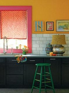 Benjamin Moore yellow marigold wall and vibrant blush trim