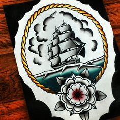 Tattoo flash piece painted in ink Original design by WorksByLucas