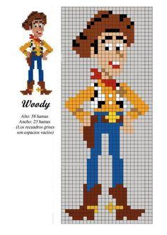 Woody toy story x-stitch hama beads patterns, hama beads design, disney hama Hama Beads Design, Hama Beads Patterns, Loom Patterns, Beading Patterns, Mosaic Patterns, Bracelet Patterns, Cross Stitch Bookmarks, Cross Stitch Charts, Cross Stitch Designs