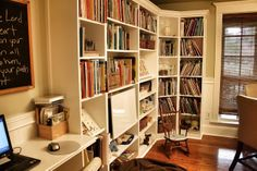 love all these ideas--tall shelves with corner one, computer station, round table, hanging white board, bean bag