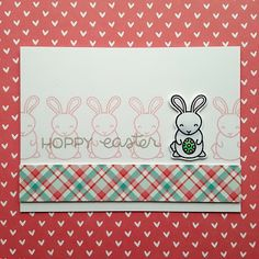 """An Easter card created with the """"Hoppy Easter"""" stamp set from """"Lawn Fawn""""."""