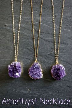 Amethyst is the birthstone of February. However that doesn't mean you can't wear this gorgeous necklace if you're born in another month. I love the color of the amethyst #necklace #ad #amethystjewelry