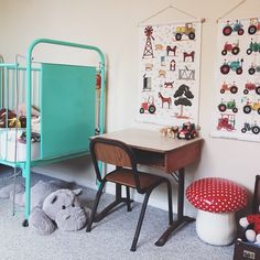 Vintage Kids Furniture and lovely Wall Art in this Colourful Kids Room