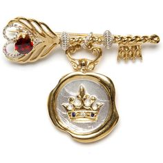 Jessica de Lotz Jewellery Feather Key Brooch with Crown Wax Seal (NEW) ($414) ❤ liked on Polyvore featuring jewelry, brooches, keys, accessories, pin, holiday brooch, rose brooch, victorian jewellery, feather brooch and pin brooch