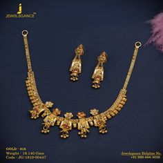 Gold 916 Premium Design Get in touch with us on Gold Bangles Design, Gold Earrings Designs, Gold Jewellery Design, Necklace Designs, Gold Designs, Gold Necklace Simple, Gold Jewelry Simple, Small Necklace, Necklace Set