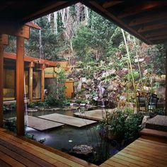 15 Unique Garden Water Features WATER FEATURE - This garden, designed by David Hertz, takes advantage of the natural landscape of Yachats, Oregon, and combines it with the simplicity of Asian garden design. Photo by David Papazian Outdoor Rooms, Outdoor Living, Indoor Outdoor, Outdoor Privacy, Outdoor Tiles, Outdoor Patios, Outdoor Retreat, Outdoor Gardens, Asian Garden