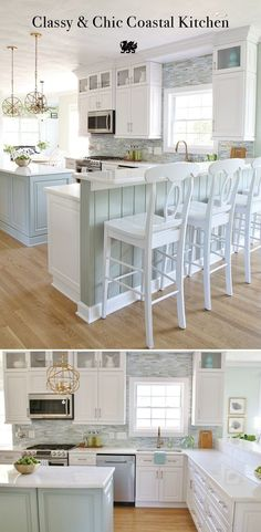 This white kitchen with seaside hues by Sand & Sisal…