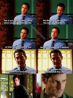 I love this scene! Renard is able to convince Nick not to do something when Hank--one of Nick's closest 'friends'--couldn't. Because whether they want to admit it, Nick and Renard are friends and hey both know each other better then they want to admit