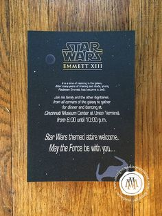 The Star Wars fun was galactic at Emmett's bar mitzvah! It started with a really fun invitation that was both elegant and full of Star Wa...