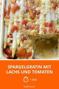 Spargelgratin mit Lachs und Tomaten - smarter - Zeit: 1 Std. | eatsmarter.de