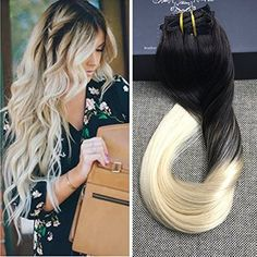 Full Shine 1B 613 Blonde Ombre 100 Human Hair Clip in Extensions Two Tone Balayage 10 Pcs Blonde Clip Hair Extensions Full Head  Berry10.com