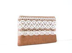 brown linen zipper pouch with cotton crochet trim / linen / fall fashion / bridesmaids