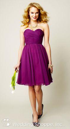 Elegant knee length chiffon bridesmaid dress in wine.