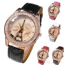 Champagne amantes discagem Lips de mulheres menina torre Eiffel analógico de pulso de quartzo relógios 08CP(China (Mainland))