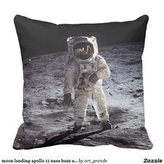 moon landing apollo 11 nasa buzz aldrin 1969 outdoor pillow