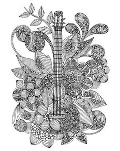 """Add your own color to """"Guitar"""" by Valentina Ramos from our Coloring Canvas Collection. Available at CanvasOnDemand.com."""