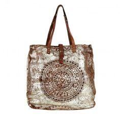 Campomaggi Tasche – Shopper Rosone Bambu Cognac/Silver – in cognac – Umhängetasche für Damen