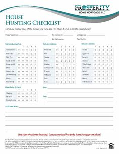 House Hunting Checklist - Prosperity Home Mortgage, LLC