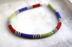 Striped African Necklace, African Inspired Necklace, Colorful Necklace, Tribal Necklace, Maasai Style Necklace, Zulu Inspired Necklace