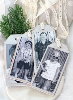 Personalize your Christmas stockings and gifts with these wood photo tags