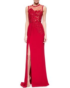 Floral-Beaded Slit Gown by Elie Saab at Bergdorf Goodman.