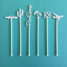 Palm Springs Party Drink Stirrers - Palm Springs Bachelorette - Set of 6 Laser Cut Acrylic Stir Sticks