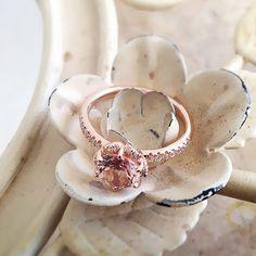 14k Rose Gold Vintage Morganite Engagement Ring Diamond Wedding Band 7mm Round Pink Peach Morganite Ring