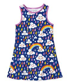 9.99 Look what I found on #zulily! Navy Rainbow & Raindrop Tank Dress - Toddler & Girls #zulilyfinds